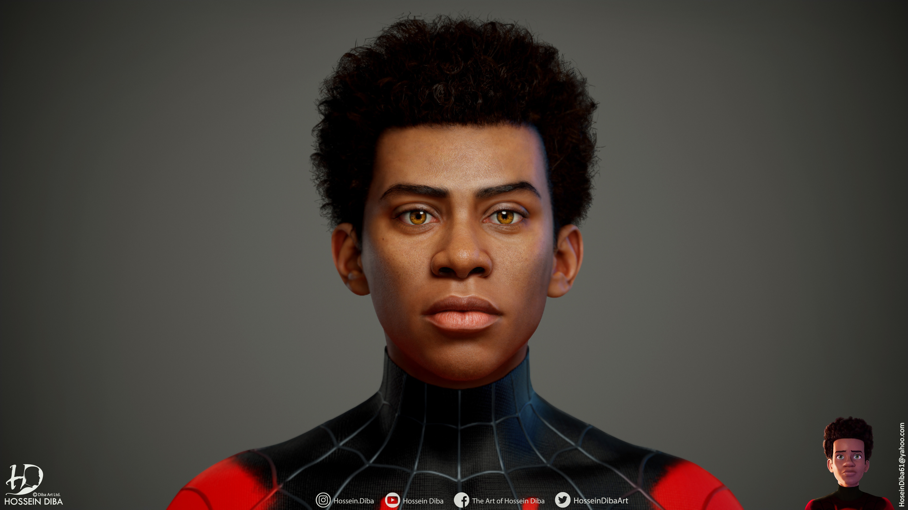 Miles Morales的逼真的3D模型(实时)