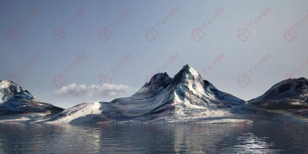 北极雪山 冰川山脉 雪景 山川 山体模型场景 场景 自然场景