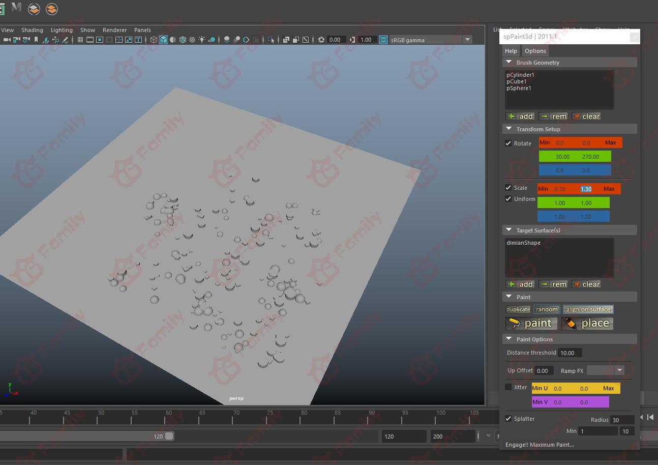 Maya spPaint3D 散布笔刷插件增强版