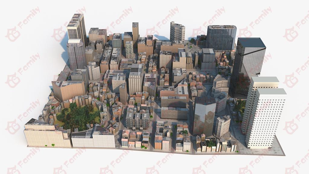 3d模型_城市_城市全景_建筑_房子_街道