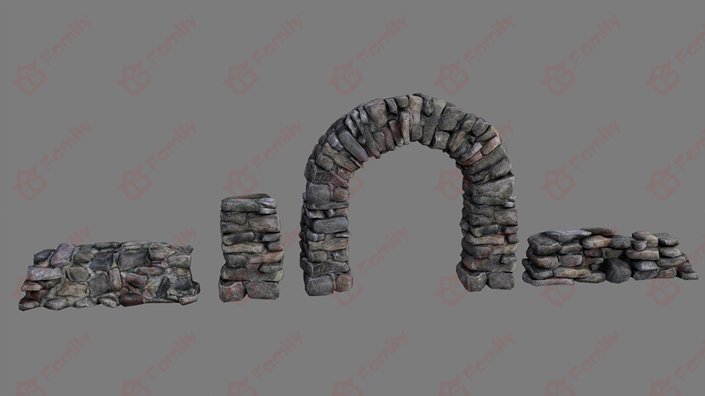3d模型石块石墙下载_石门模型