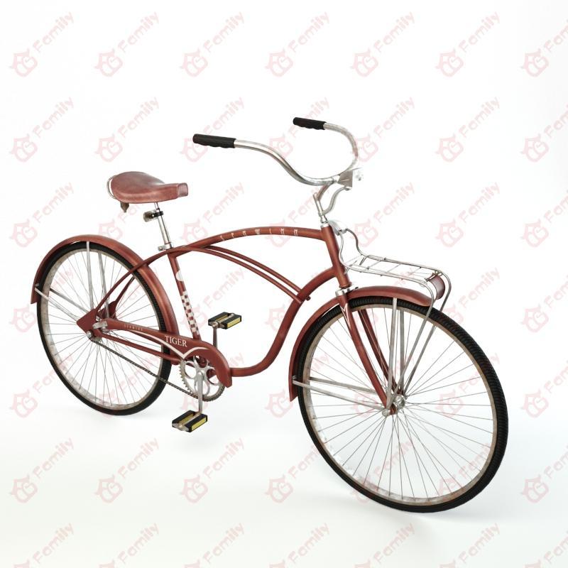 复古自行车3D模型免费下载