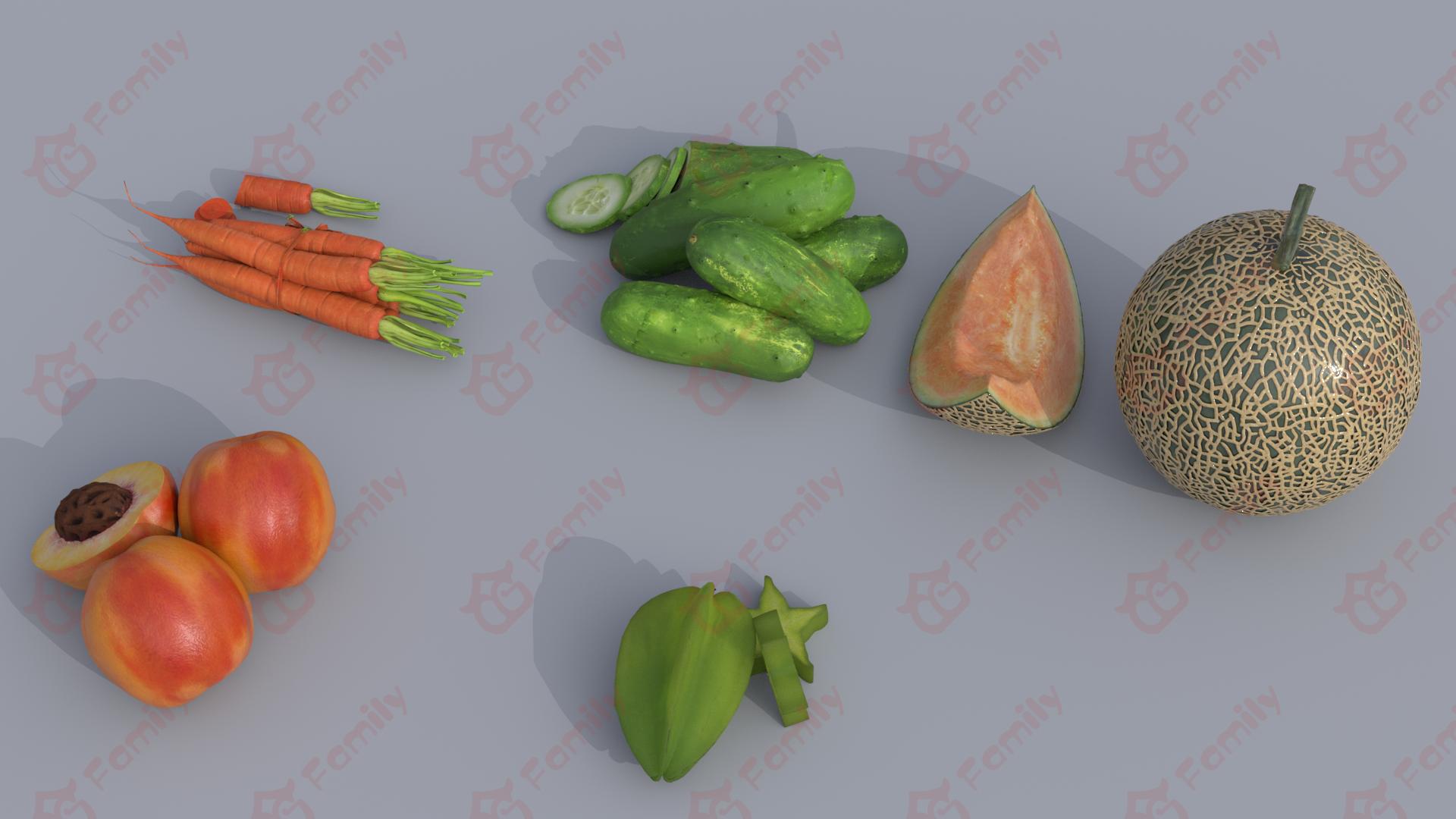 胡萝卜_黄瓜_哈密瓜_桃子_杨桃_水果蔬菜3D模型免费下载