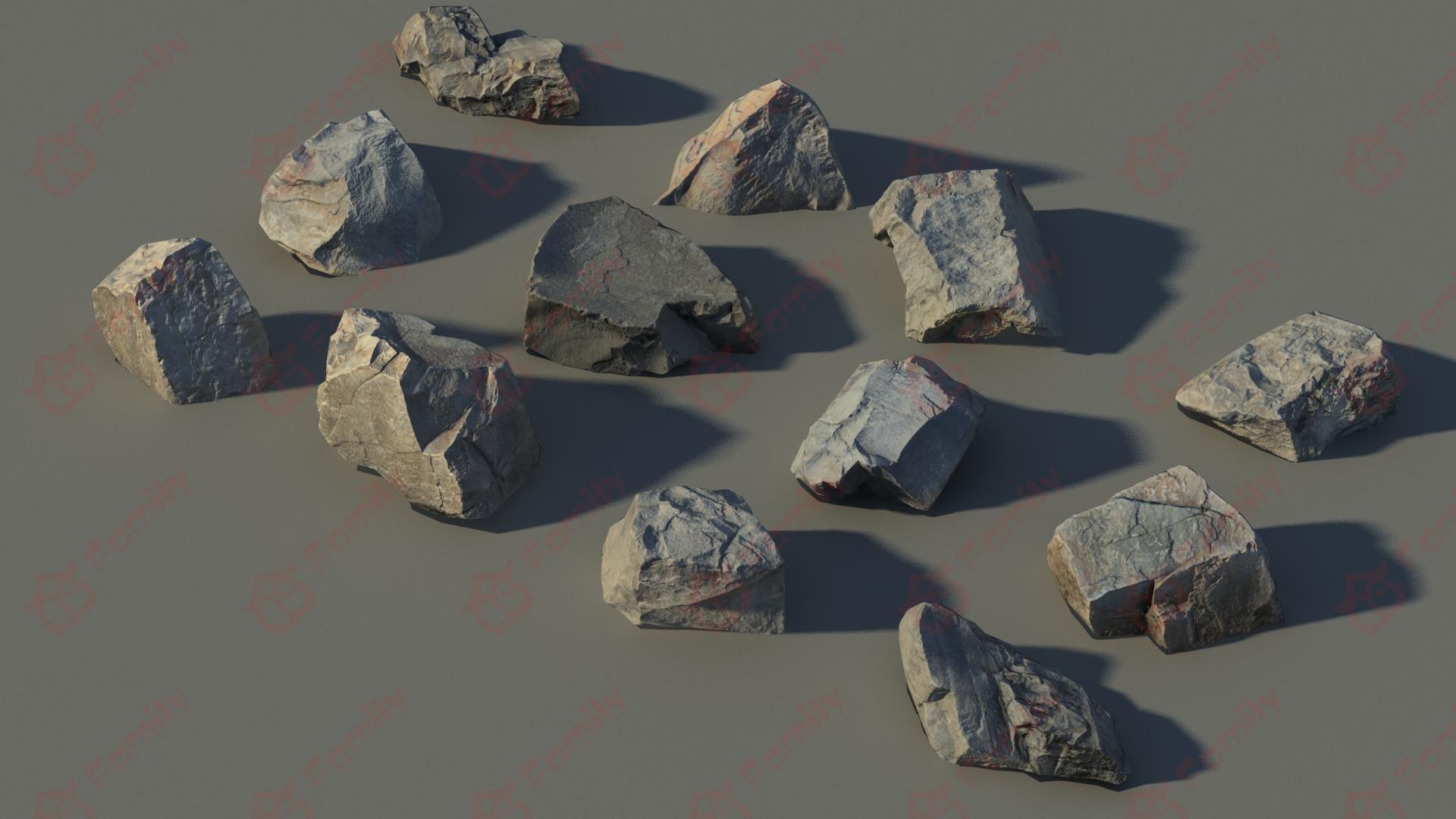 高精度扫描石头_碎石3D模型下载