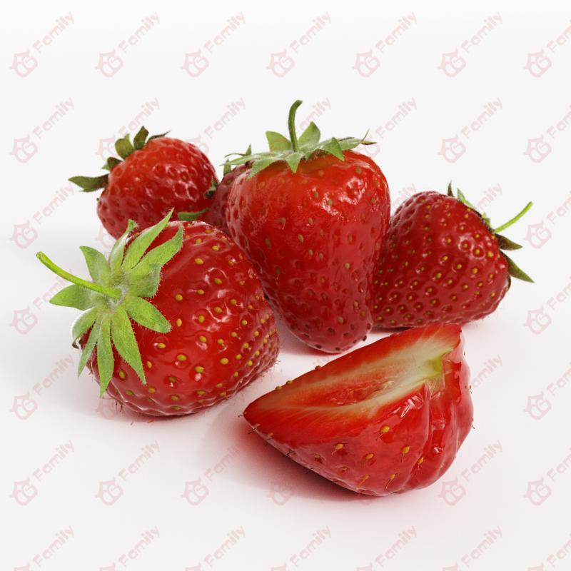 超精度水果草莓3d模型免费下载