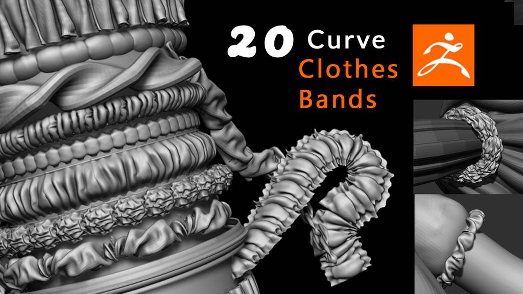 Zbrush衣服带子曲线笔刷 20 Clothes Bands Curve Brushes