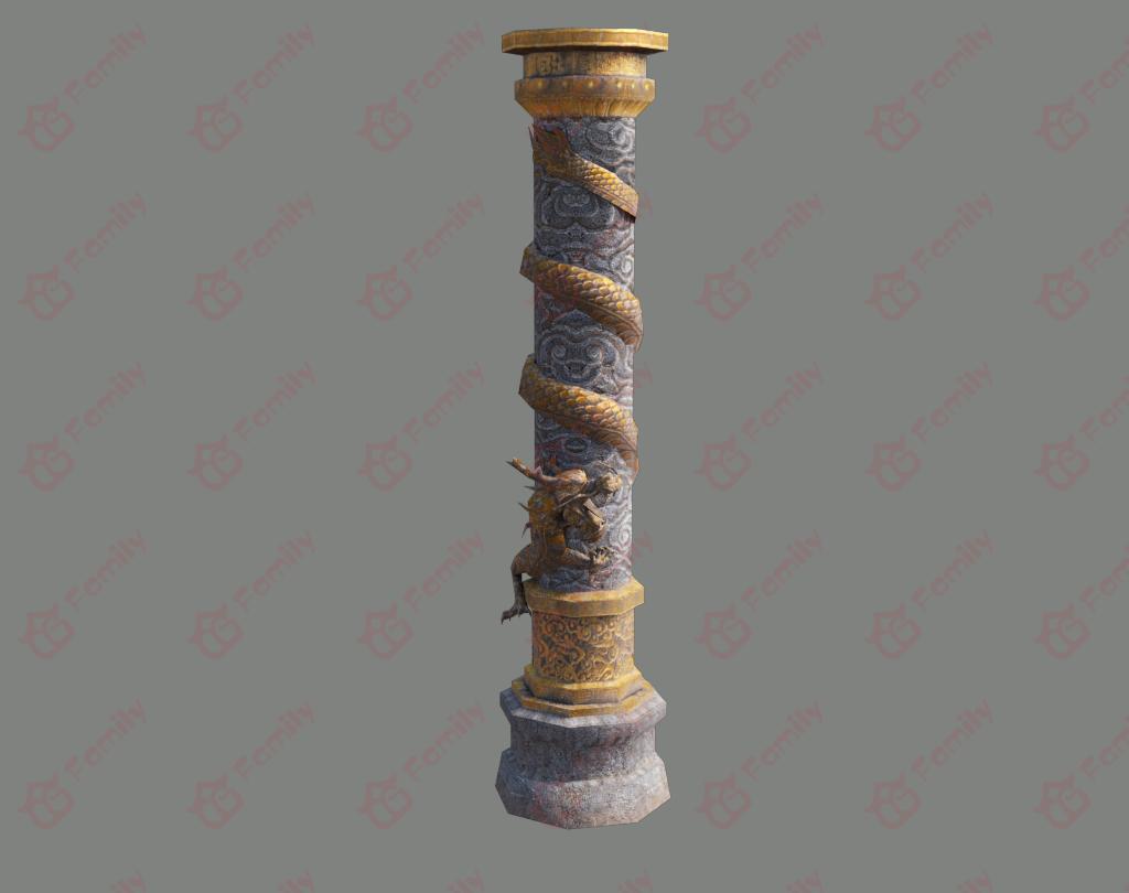 神龙盘旋的柱子3d模型下载