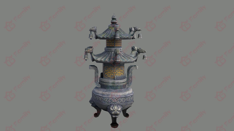 古代寺庙香炉3d模型下载