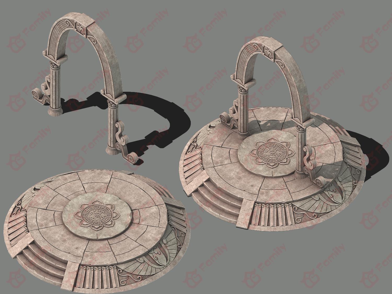 魔法阵传送门石拱门3d模型下载