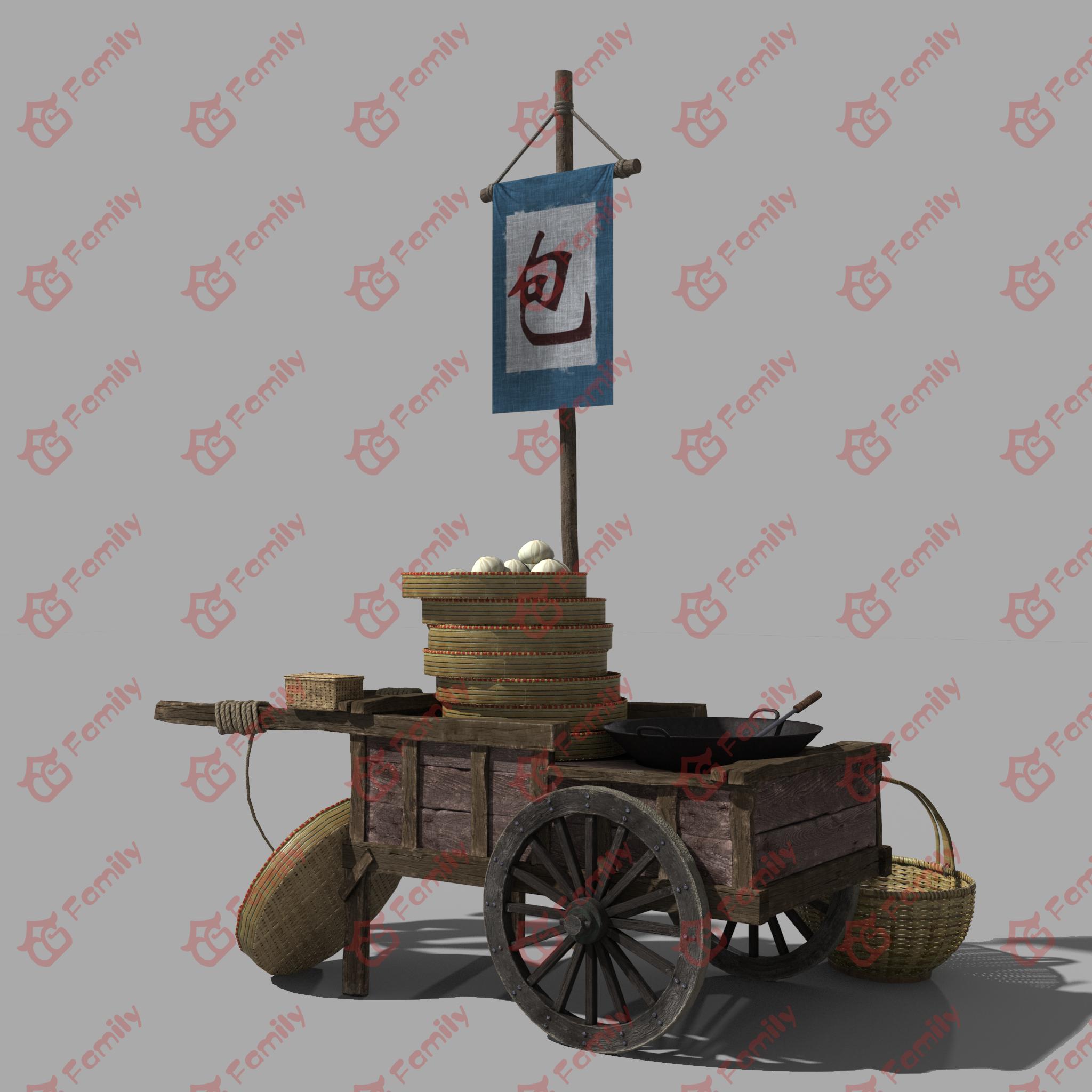 古代包子铺,包子摊,地摊拖车,cg模型网