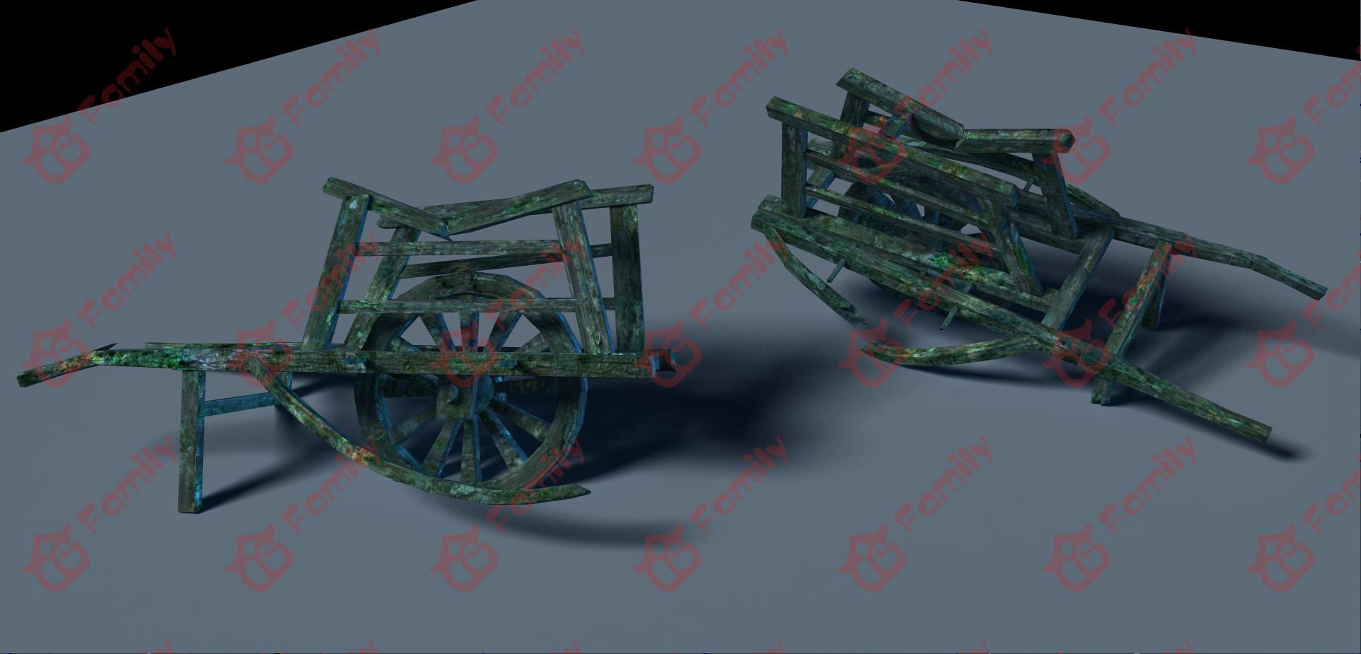 破旧发霉长苔藓的独轮车3d模型下载