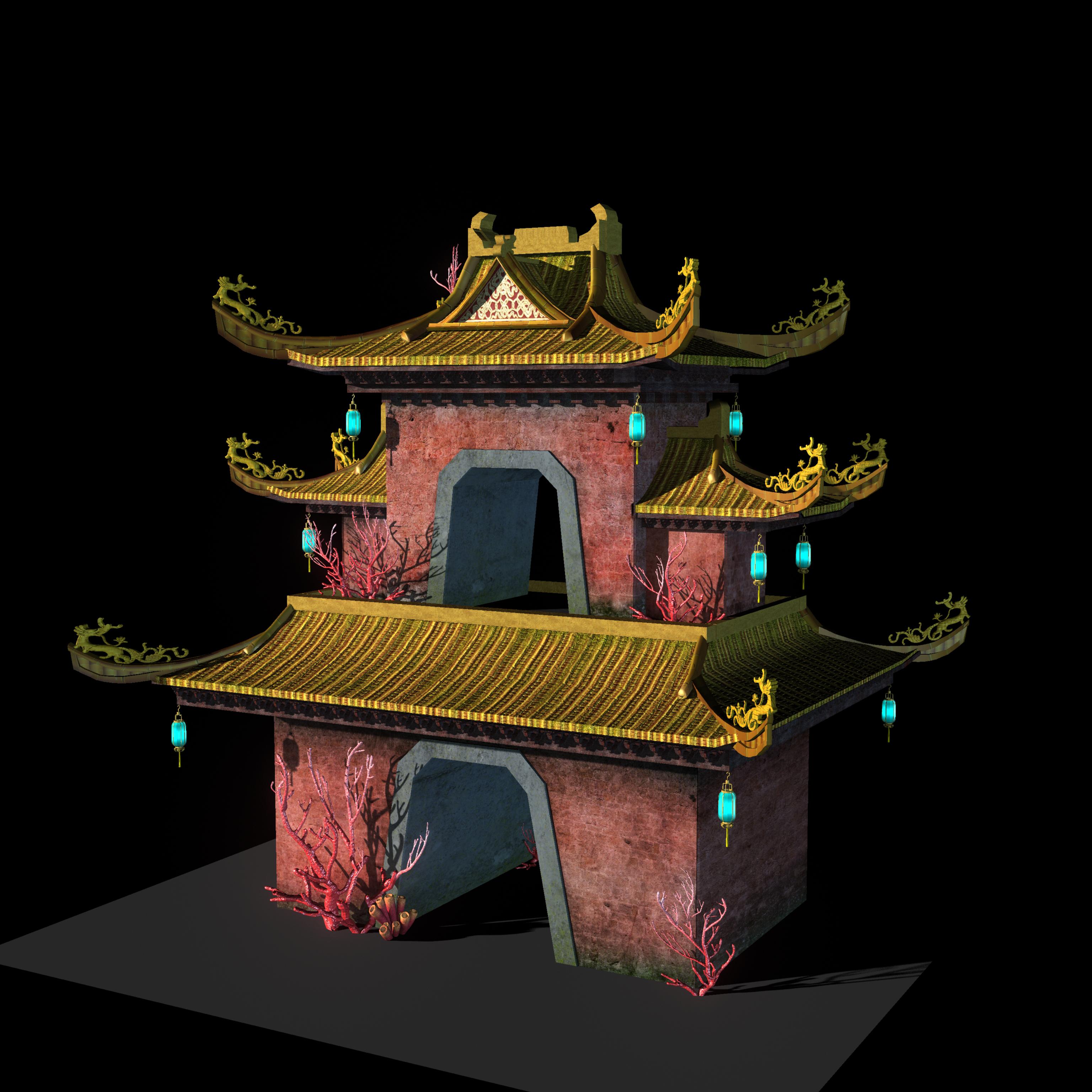 长了珊瑚的古代建筑模型3d模型下载
