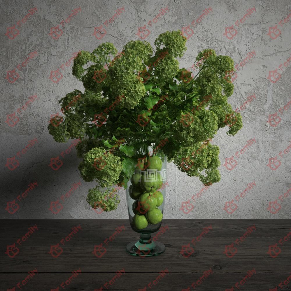 绿色植物花高精度花卉盆栽室内植物装饰3D模型材质01