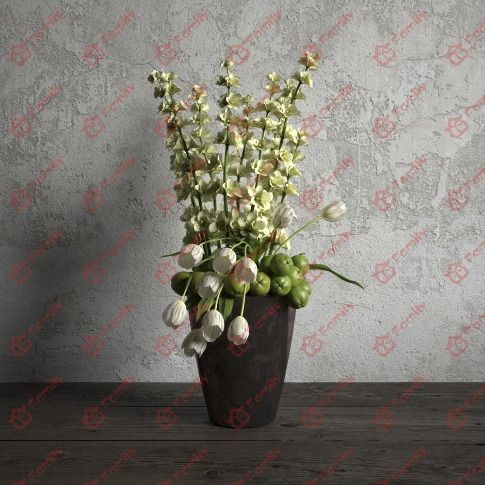 桔梗白色花果高精度花卉盆栽室内植物装饰3D模型材质贴图