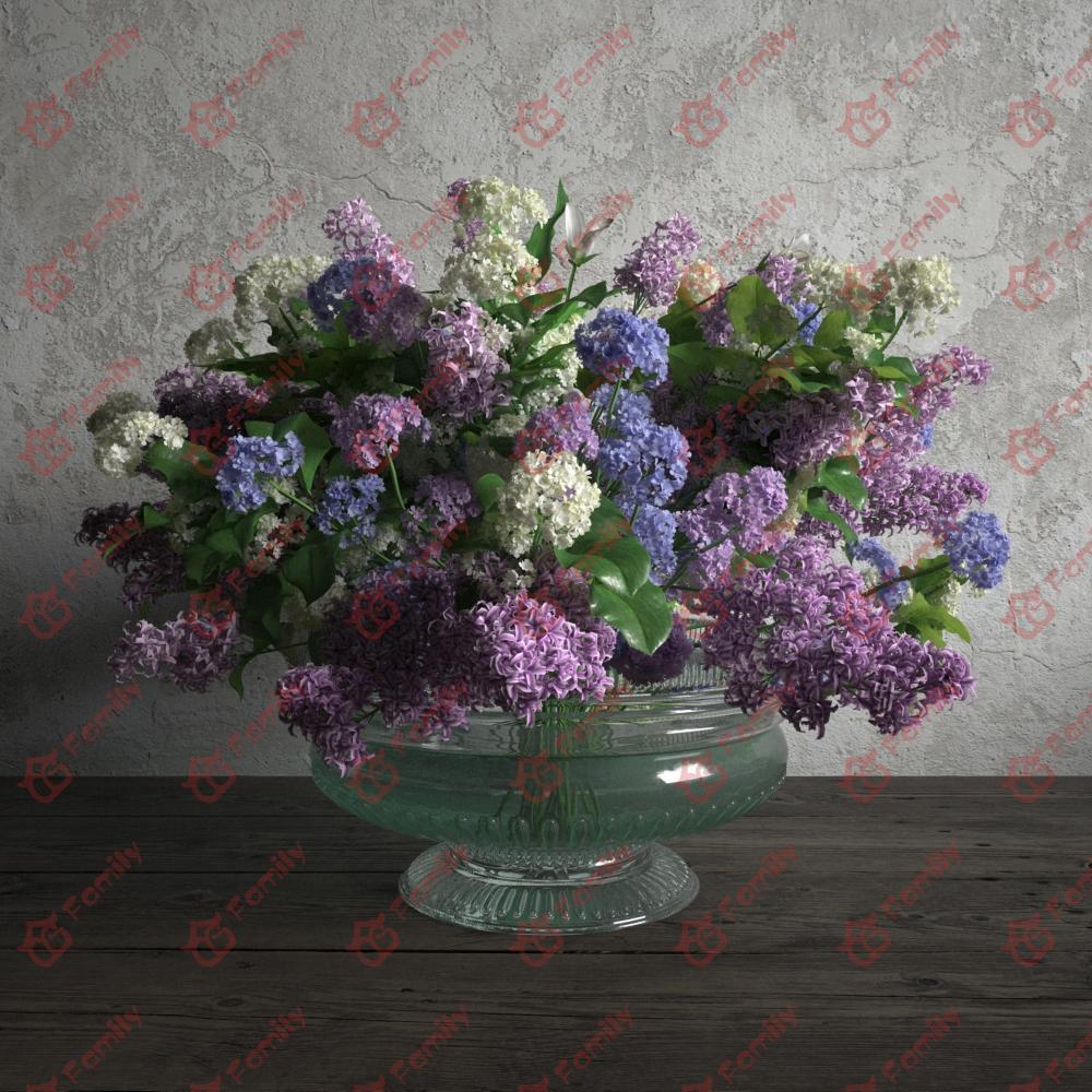 丁香花蓝色白色紫色花高精度花卉盆栽室内植物装饰3D模型材质05