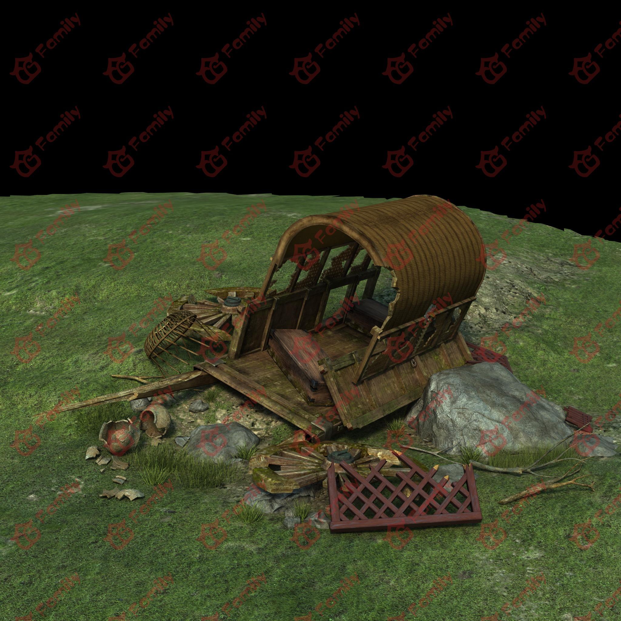 破损废弃的马车cg模型下载