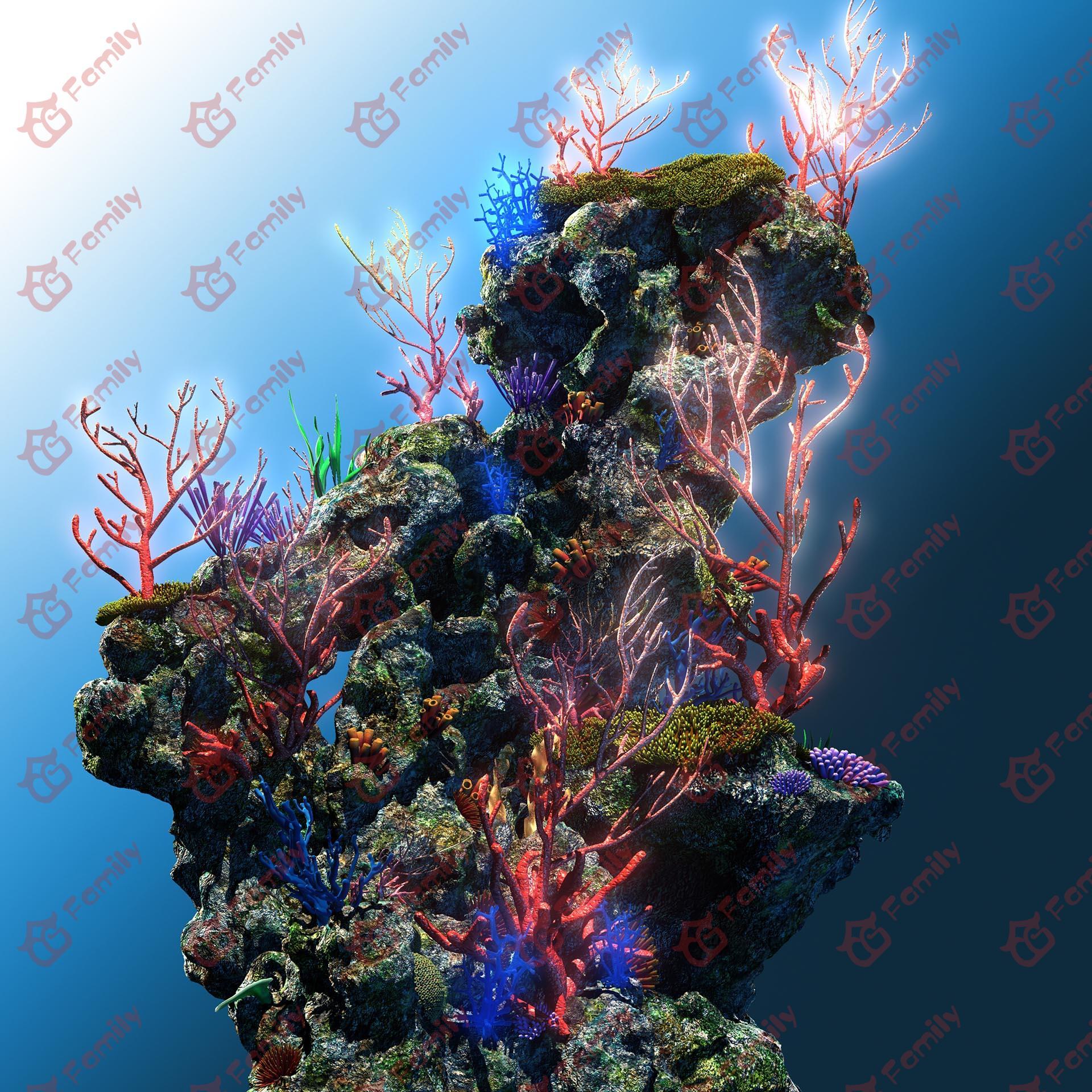 三种海底长满植物的礁石模型下载