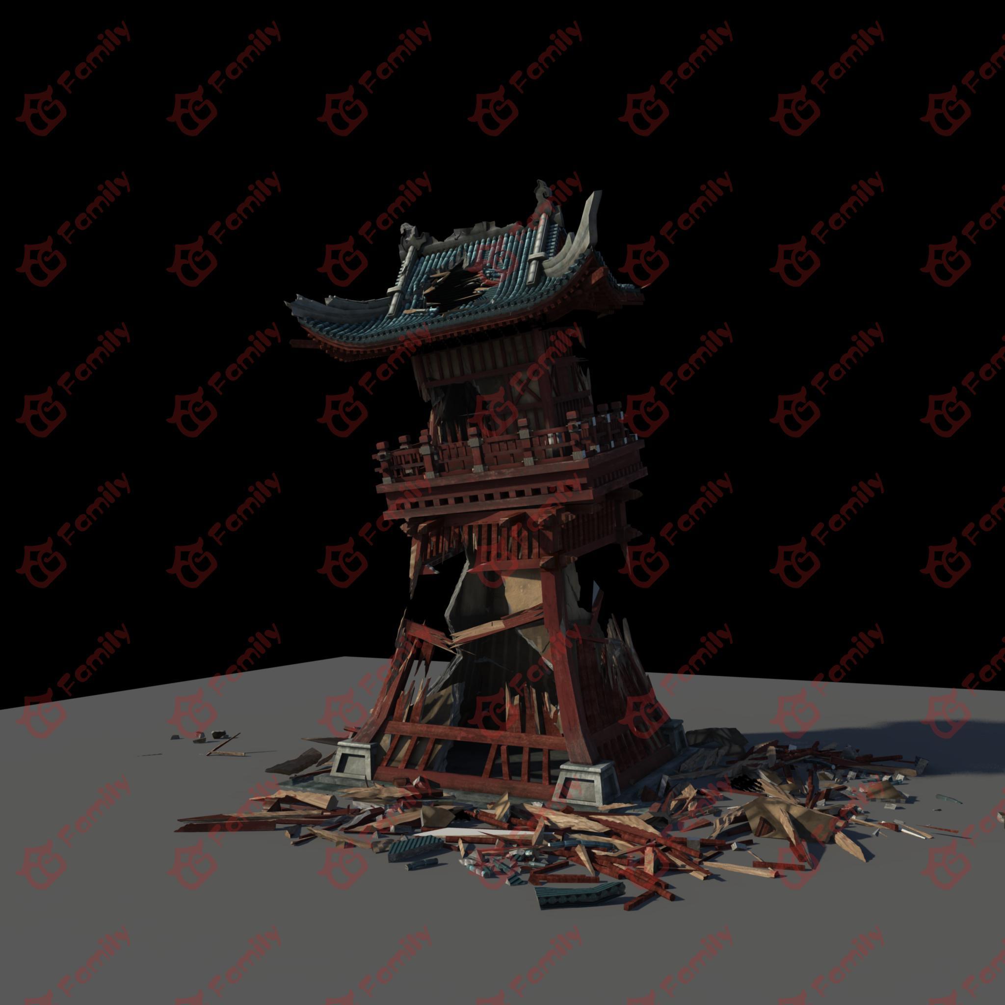 残破的古代瞭望塔模型下载