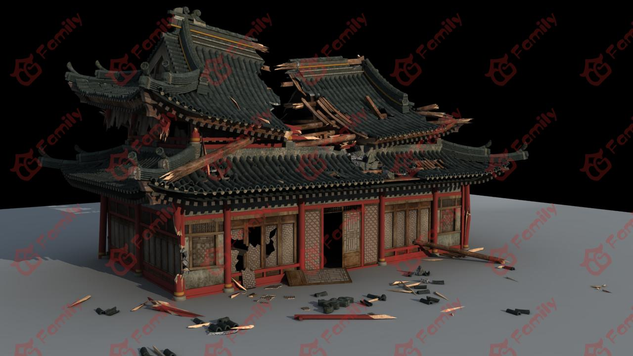 破损古代中式建筑模型下载