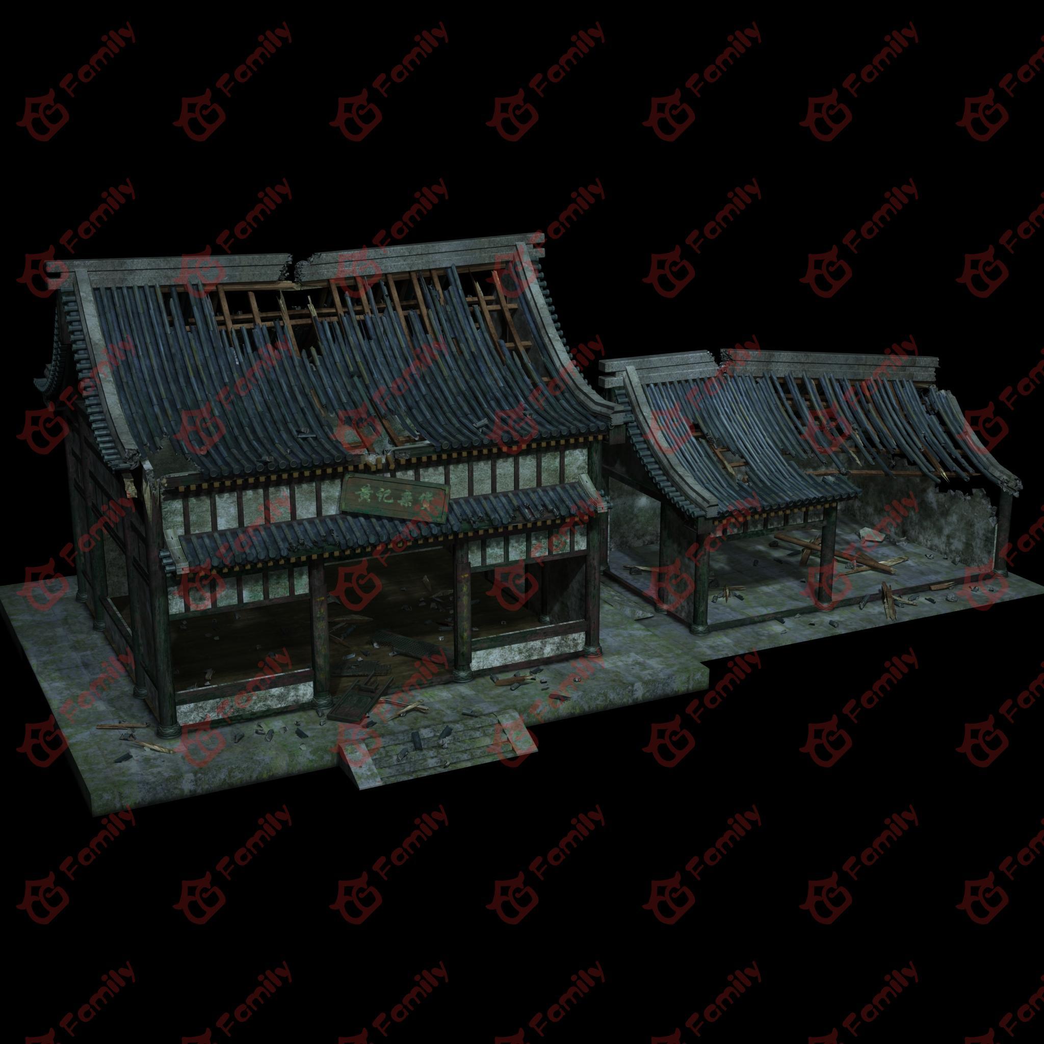 古代房子模型3d建筑下载