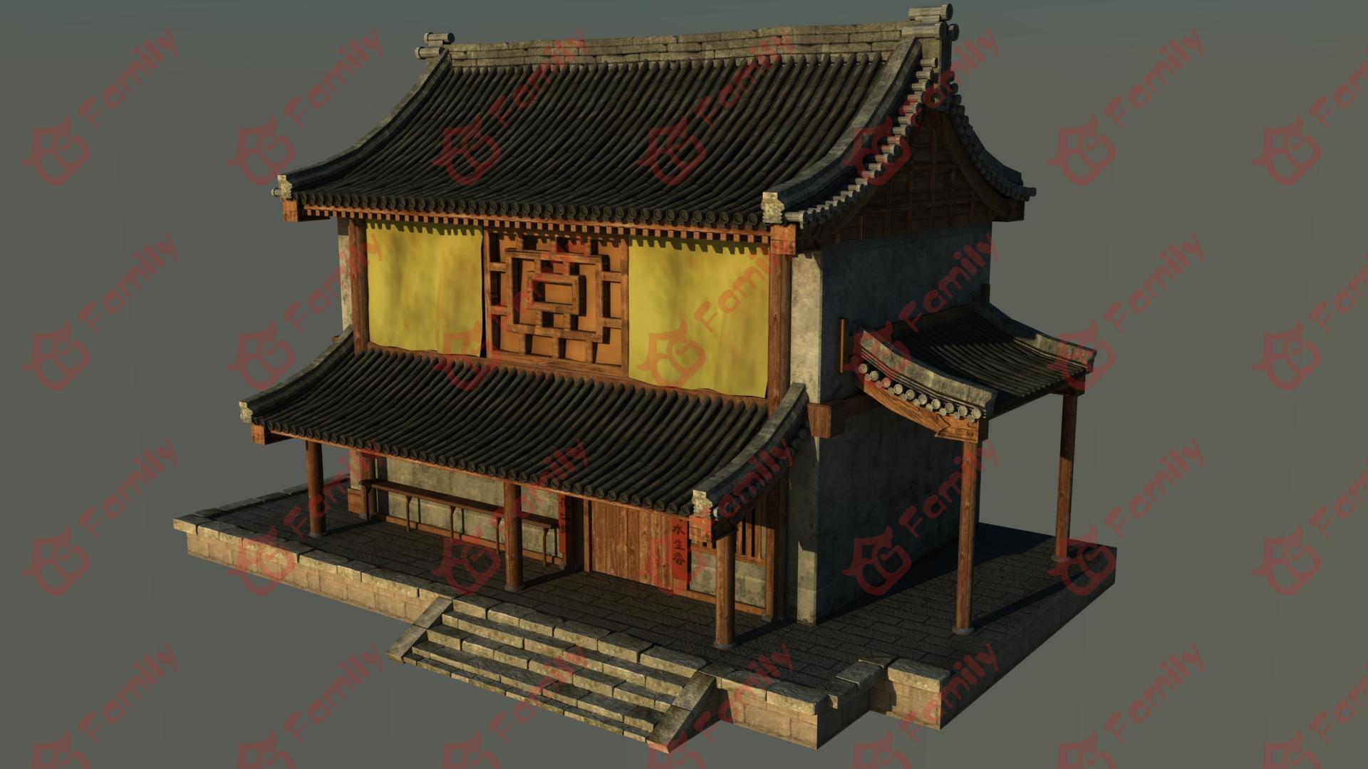四栋古代房子店铺3d模型下载