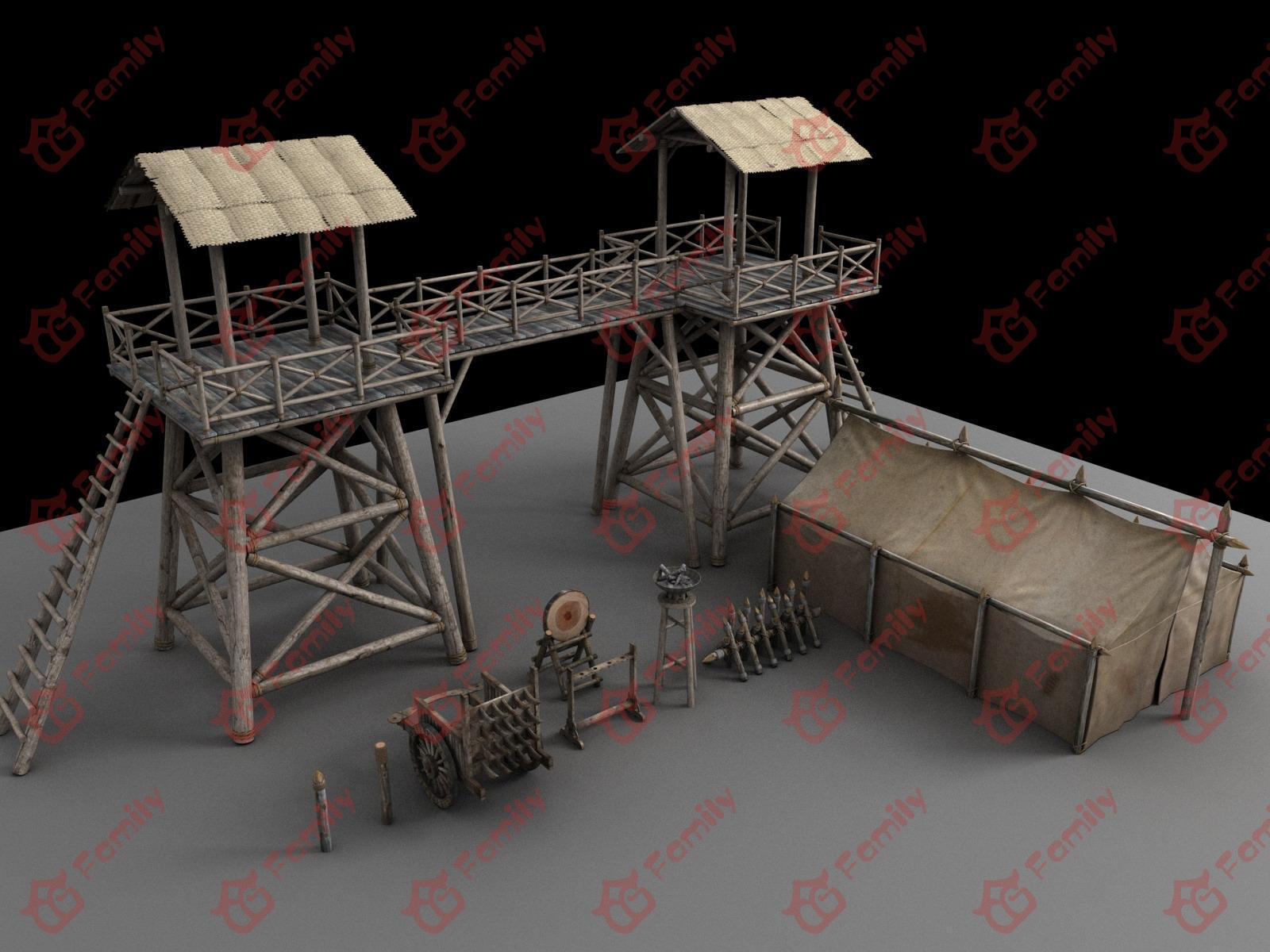 古代军营3d模型下载