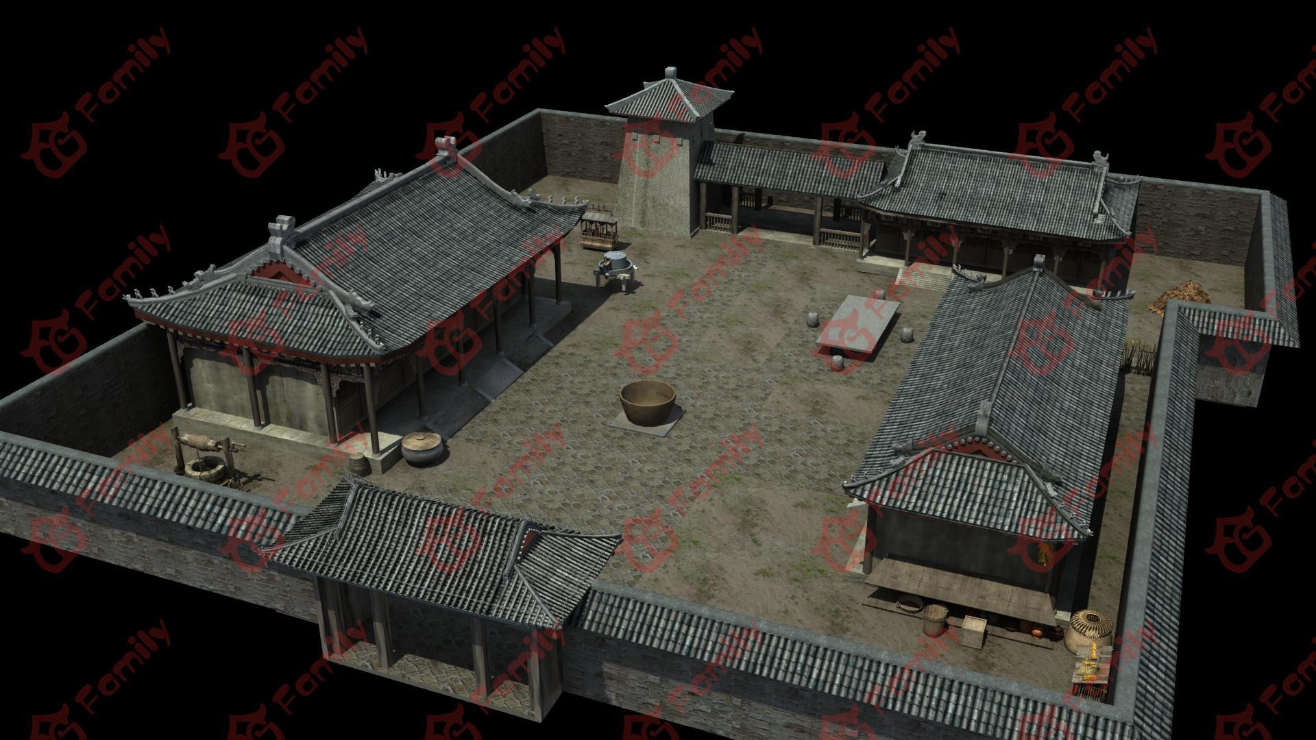 古代院落场景模型下载