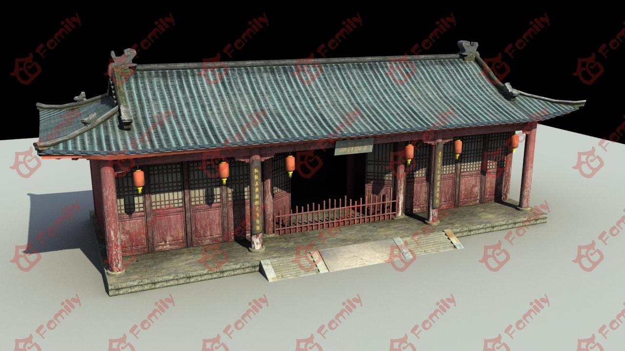 古代建筑寺庙偏殿3d模型下载