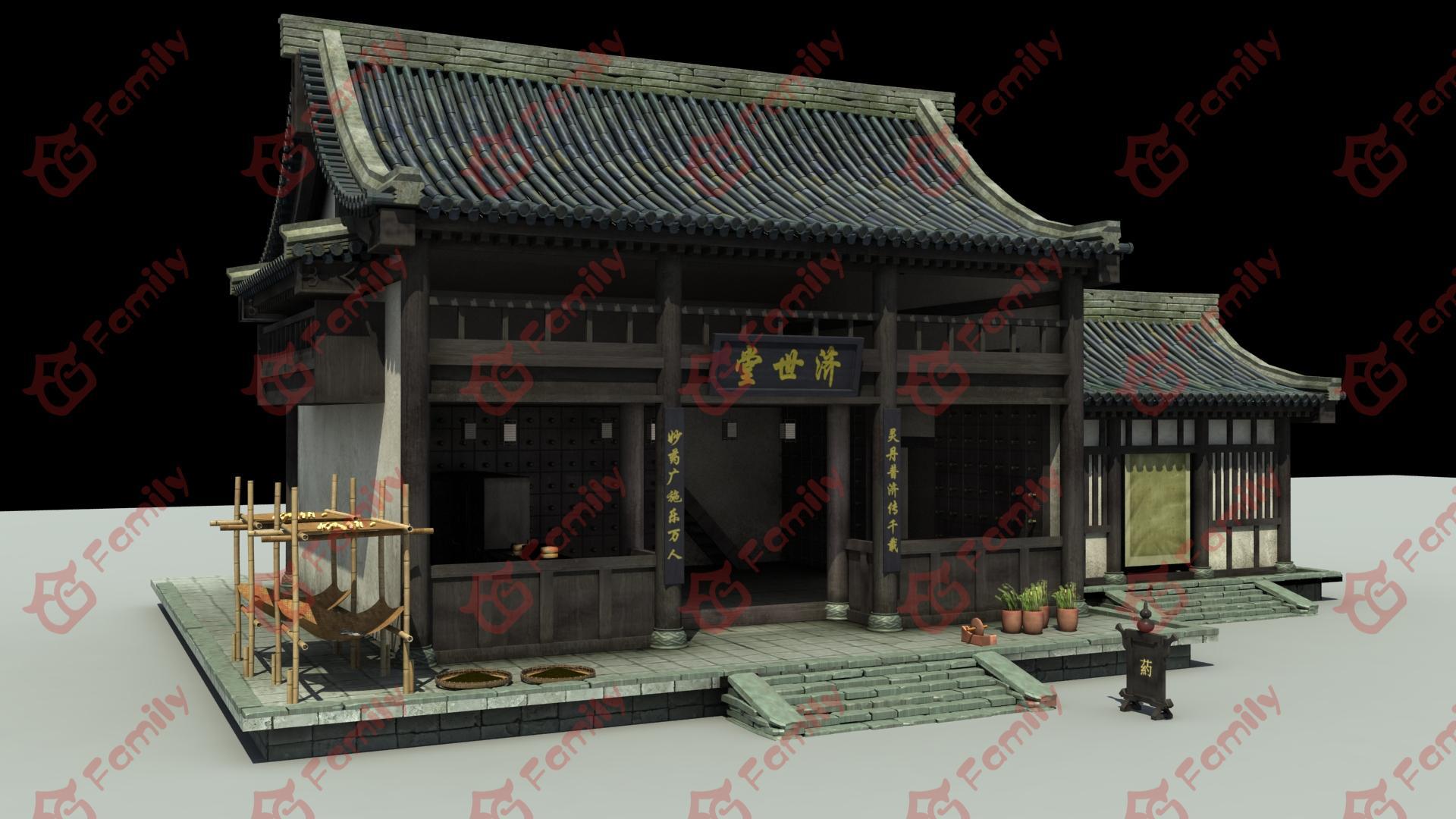 古代药铺建筑3d模型下载