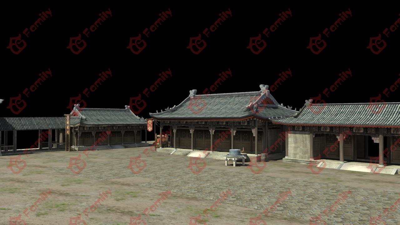 古代驿站建筑3d模型