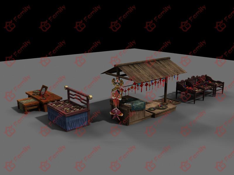古代路边杂货铺摊位cg模型下载