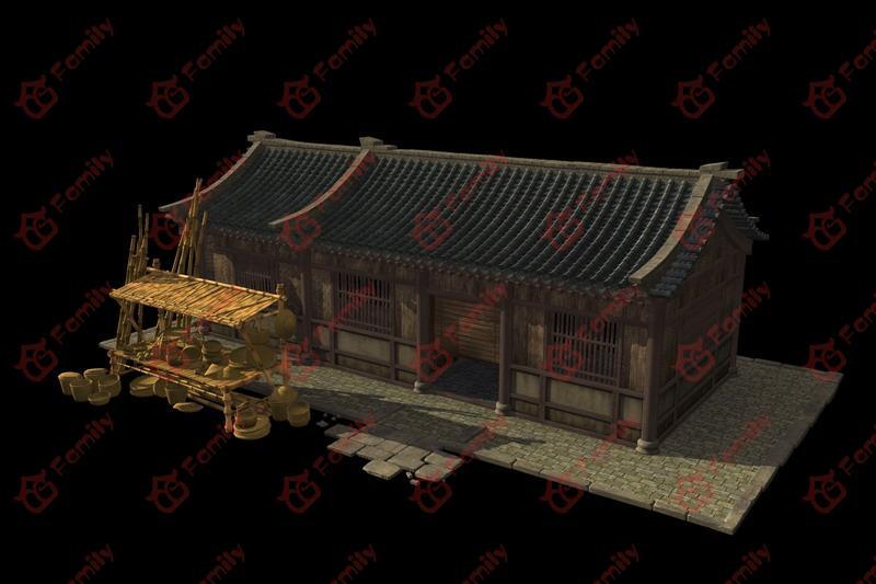 古代竹篾铺子3d模型下载