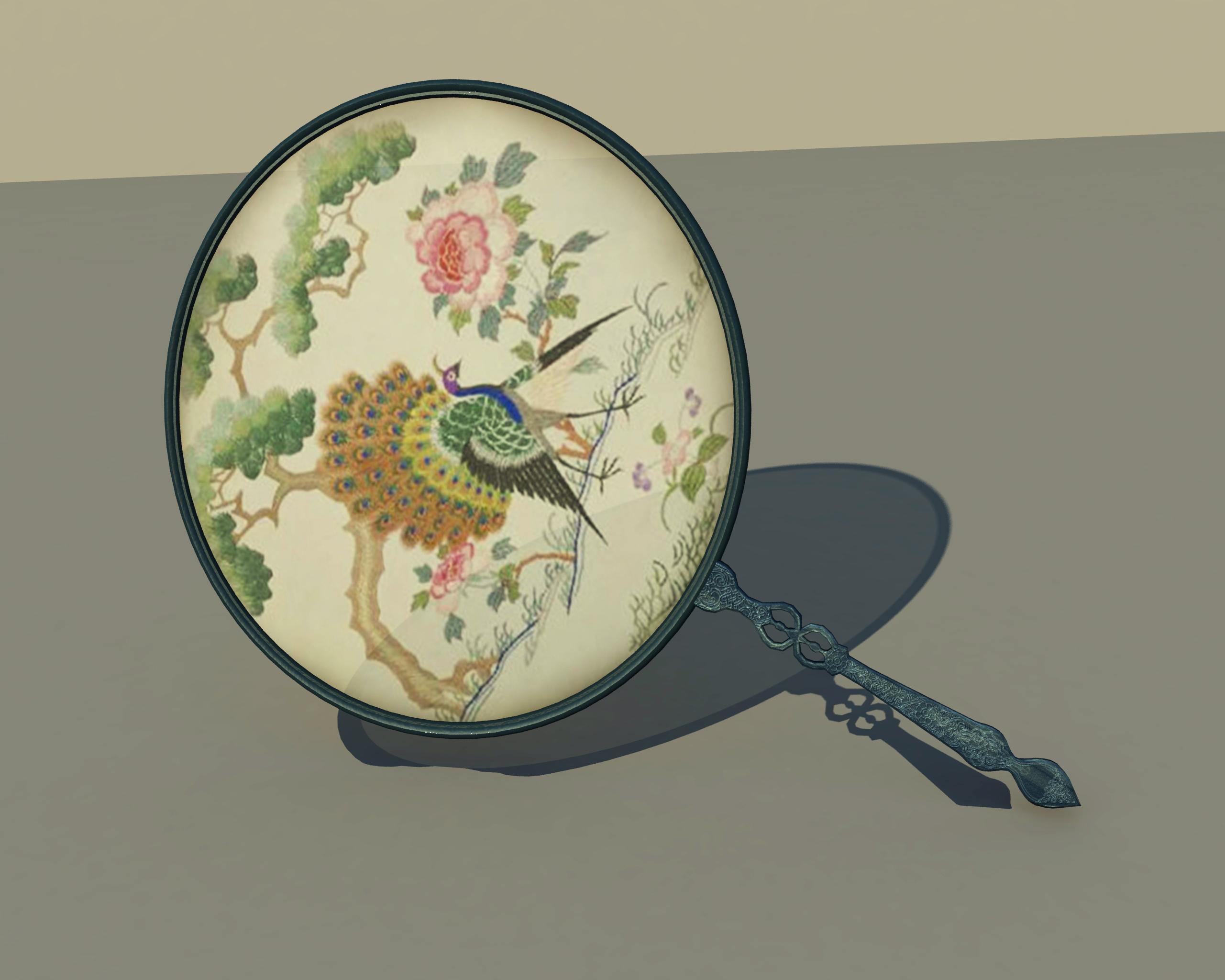 中国风团扇宫扇圆形女式扇子古代宫廷舞蹈扇复古风彩绘扇3d模型下载
