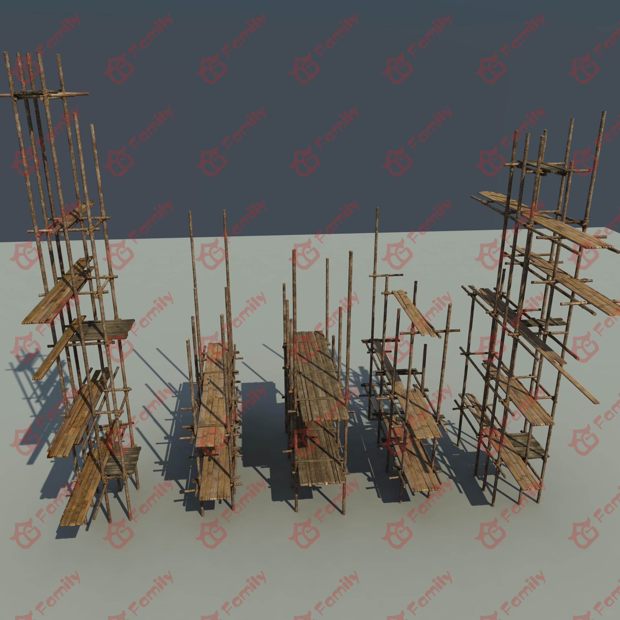 建筑工地木头架子cg模型下载