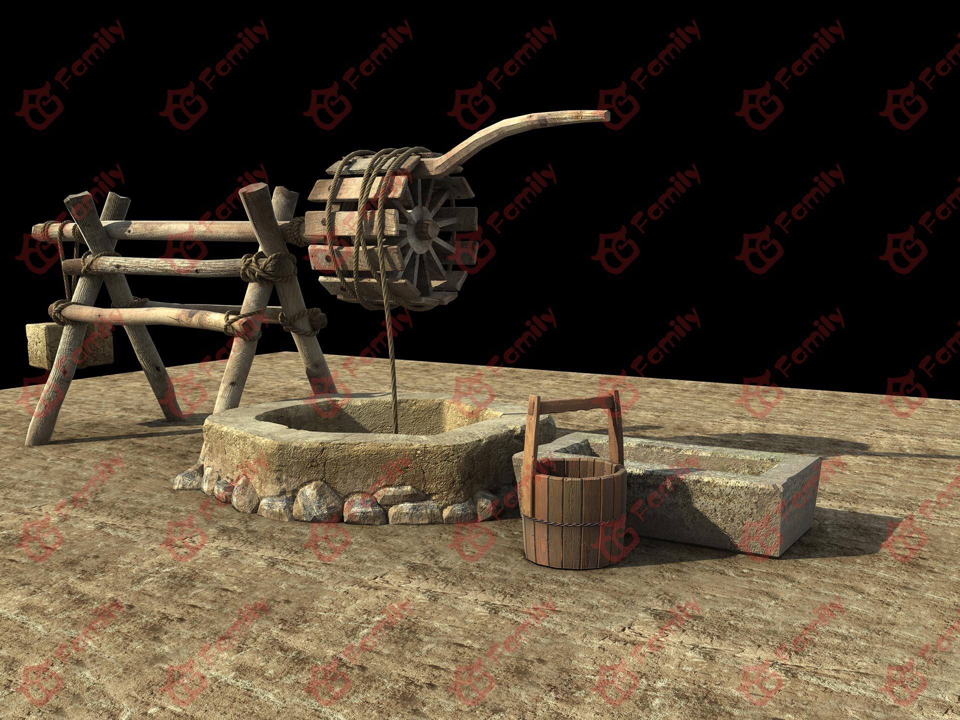 水井 古井 轱辘水井 农村水井 井轱辘 水桶