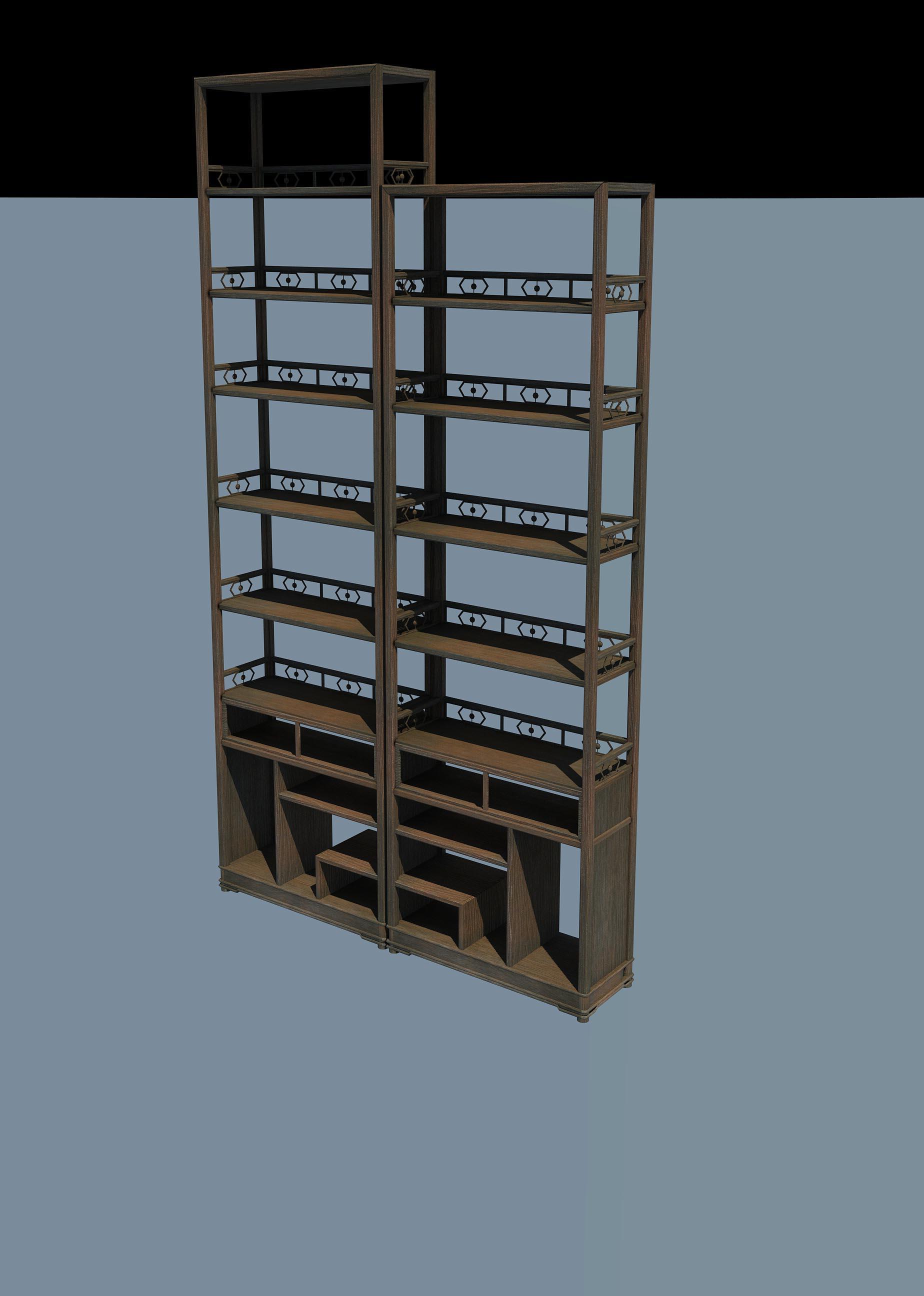 PBR 西方 古代 欧洲 复古 书柜 书架 陈列架 陈列柜 书 女神像 花瓶 古董钟 图书馆