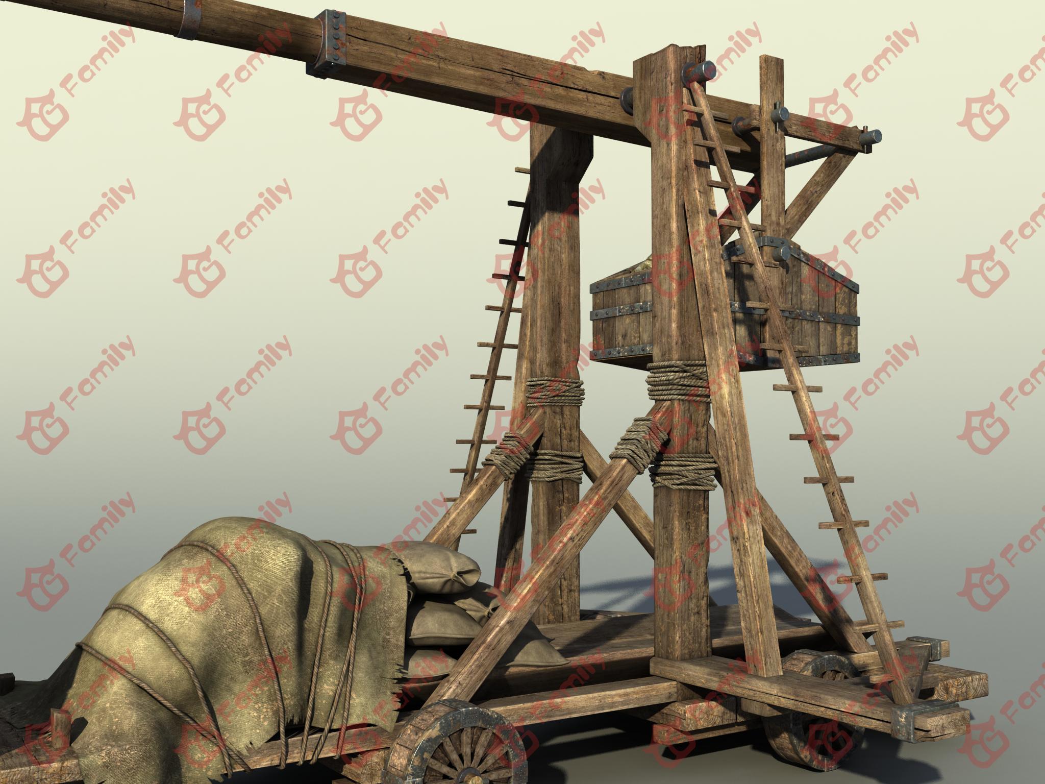PBR次世代 投石车 投石器 攻城车 攻城器械 古代战车 战争机器 攻打城池 场景素材