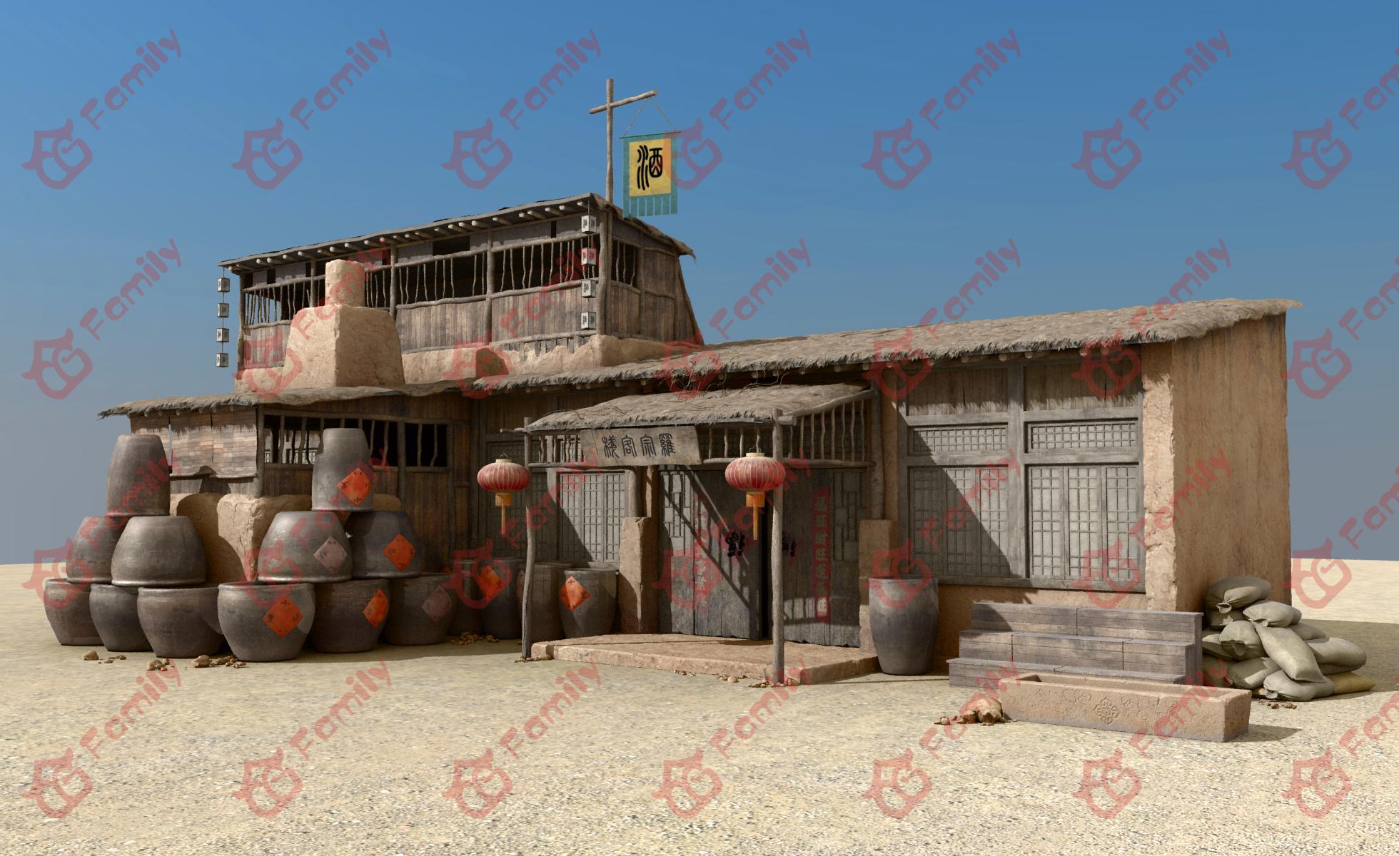 荒漠客栈酒楼3d模型下载