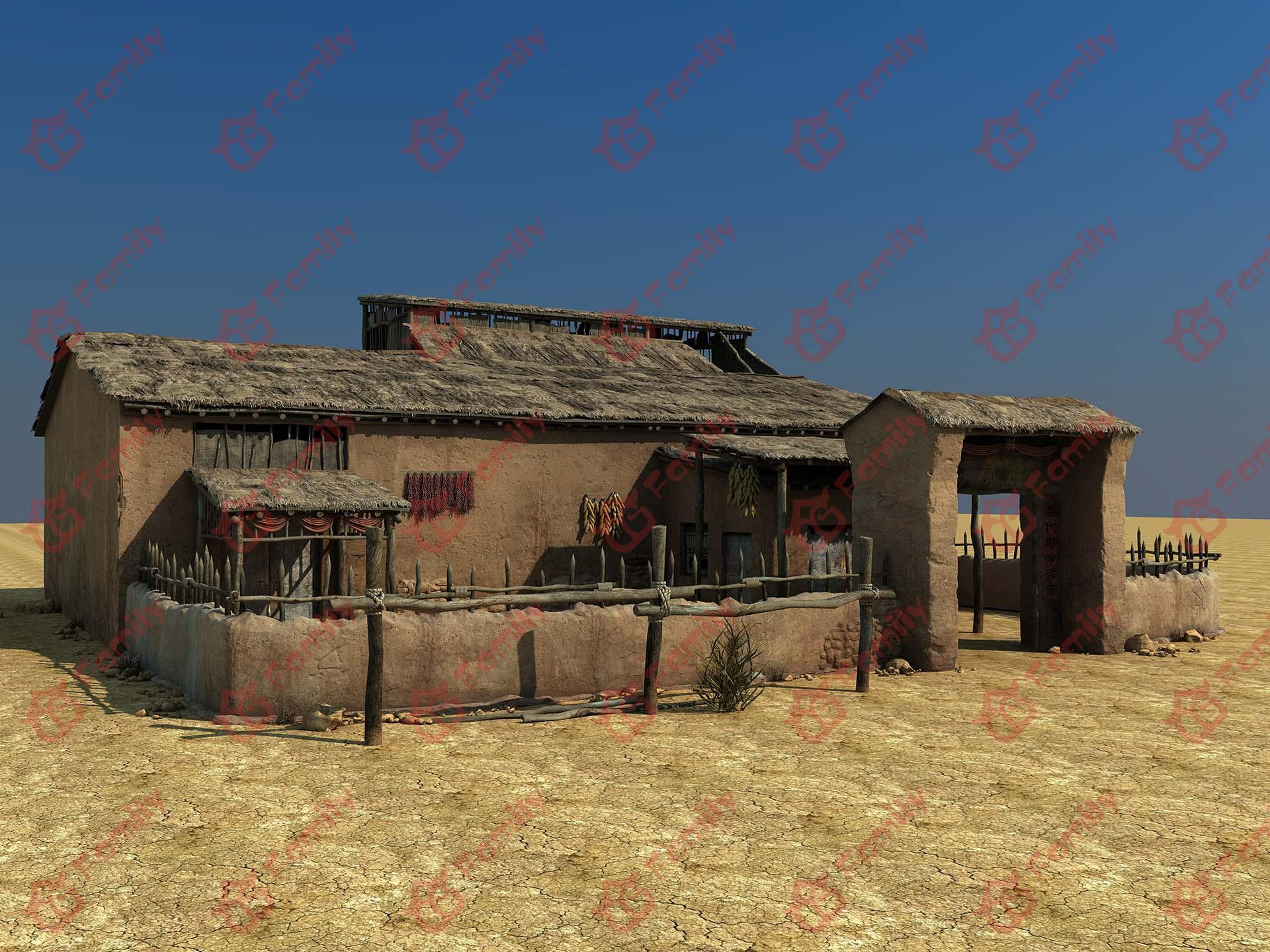 荒漠土屋cg模型下载