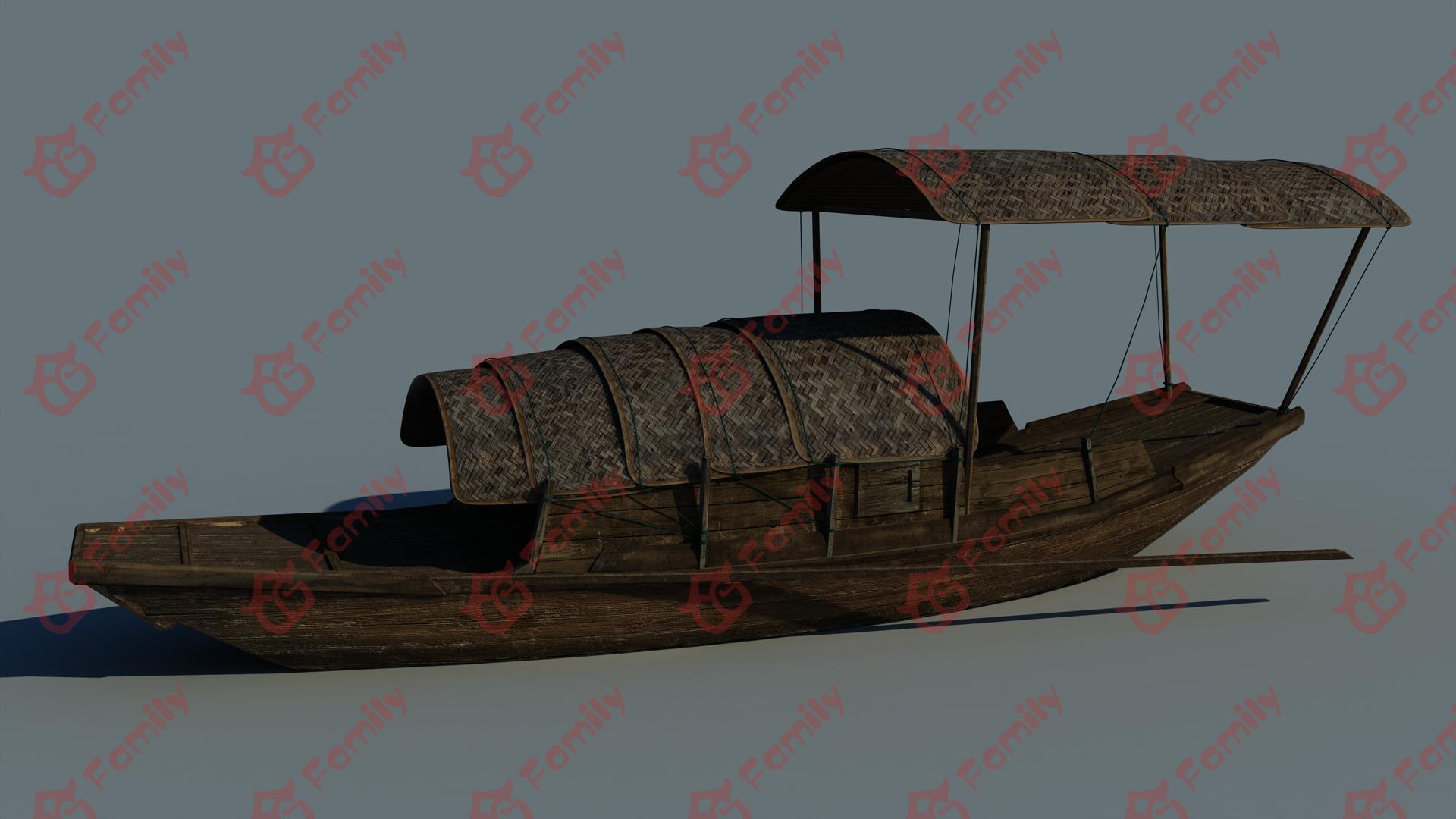 江南乌篷船3D模型下载