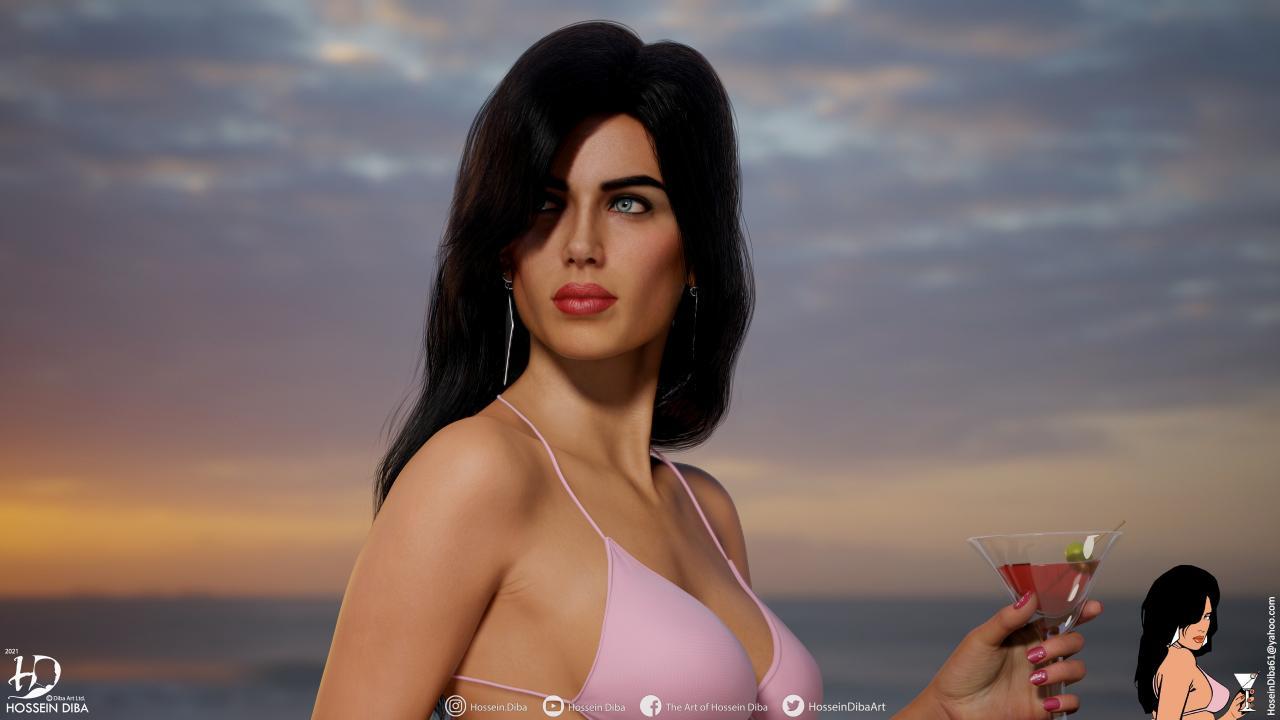 GTA副城市加载屏幕女孩的3D模型(实时)