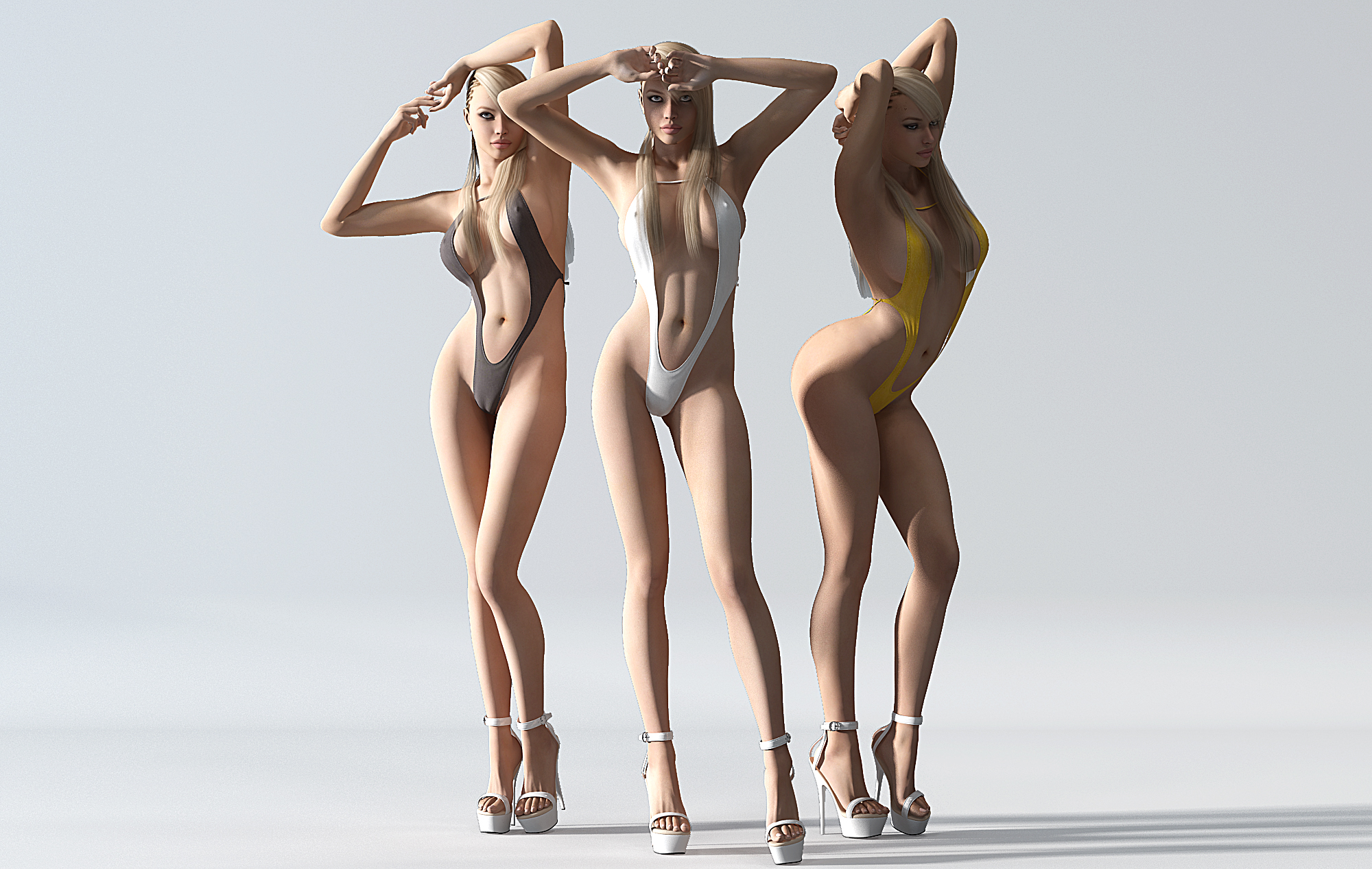 CG模型_ 现代比基尼美女人物3d模型下载