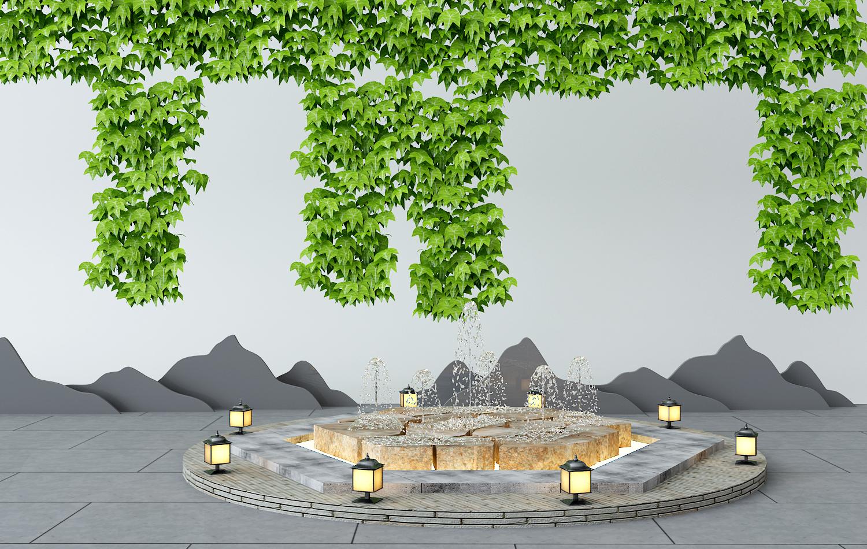 CG模型_H01园林水景植物墙